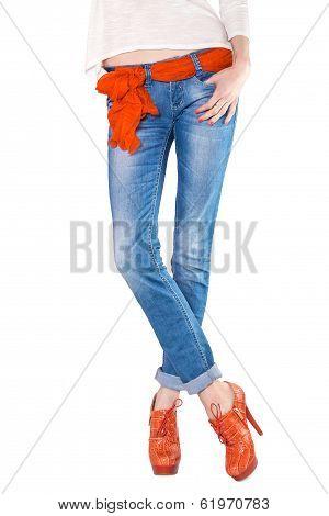 Shapely Female Legs Dressed In Blue Jeans