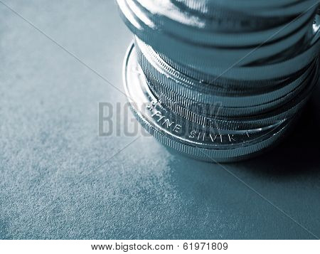 Stack of pure silver coins