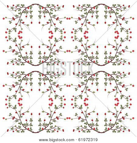 Branch With Fruits And Leaves Of Wild Rose Pattern