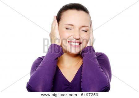 Unhappy Female With Negative Expression On Her Face