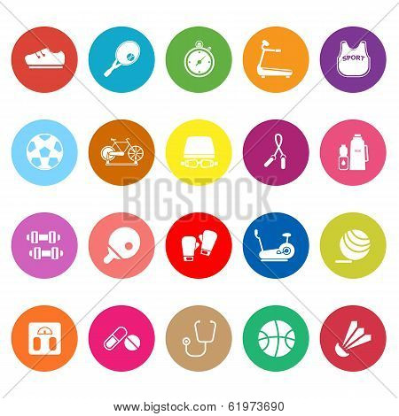 Fitness Sport Flat Icons On White Background