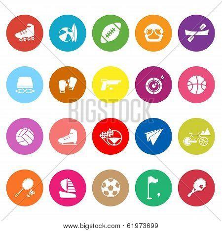 Extreme Sport Flat Icons On White Background