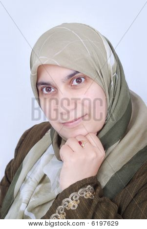 a beautiful  Muslim woman is looking at
