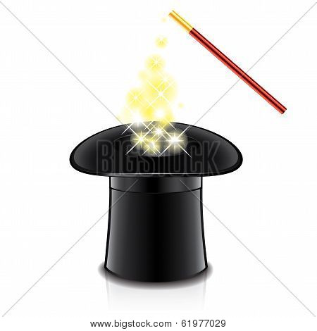 Magic Hat And Wand Vector Illustration