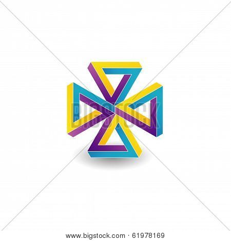 Four pen rose triangles optical illusion- Business icon
