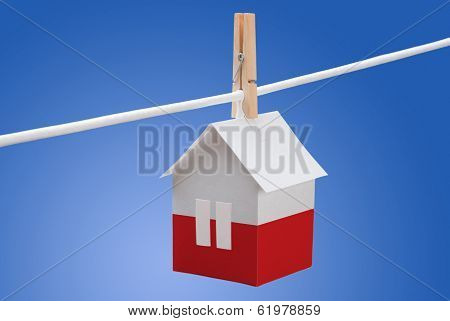poland, polish flag on paper house