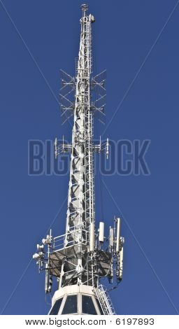 Communication tower with TV, cell phone and Radio antennas