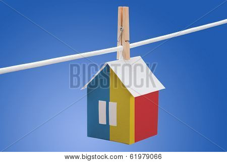 Romania, Romanian flag on paper house