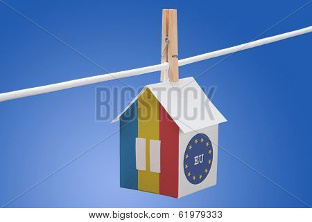 Romania, Romanian and EU flag on paper house