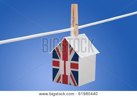British, britain flag on paper house