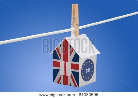 Britain, britain and EU flag on paper house