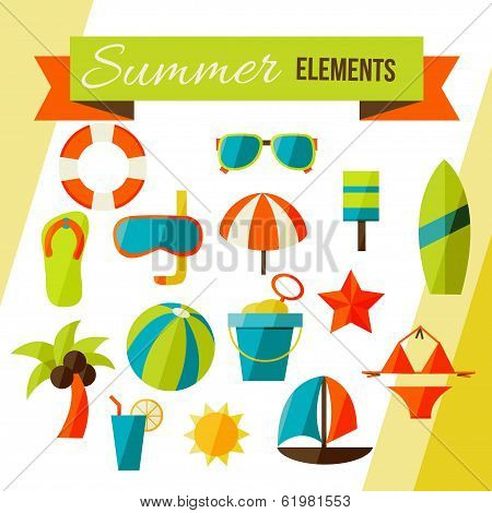 Summer elements isolated on white