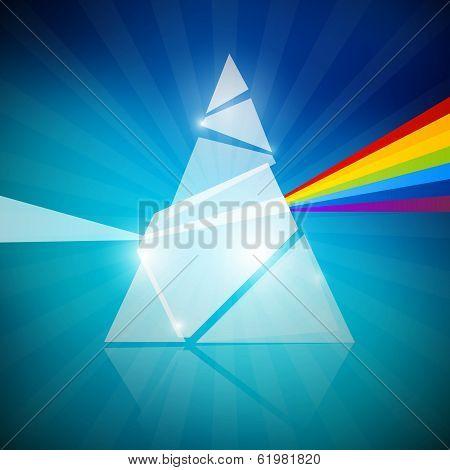 Prism Spectrum Illustration on Blue Background