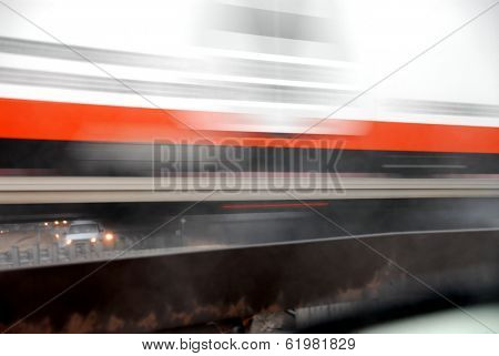 Motion blur of fast moving truck
