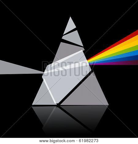 Prism Spectrum Illustration on Black Background
