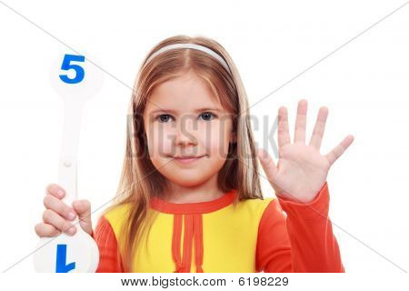 Girl Learning To Count