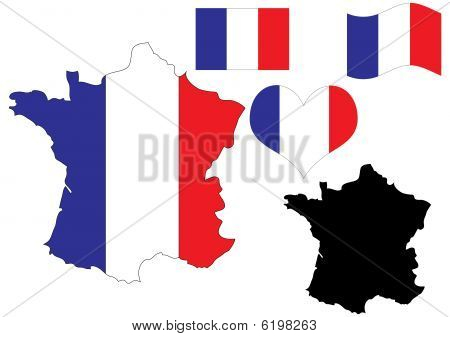 France map with flag and heart