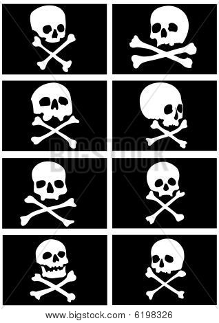 Pirate flags with skulls and crossbones