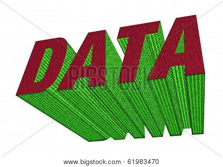 Data Sign With Binary Code In Red And Green