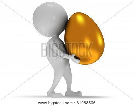 3d white man carry golden egg.