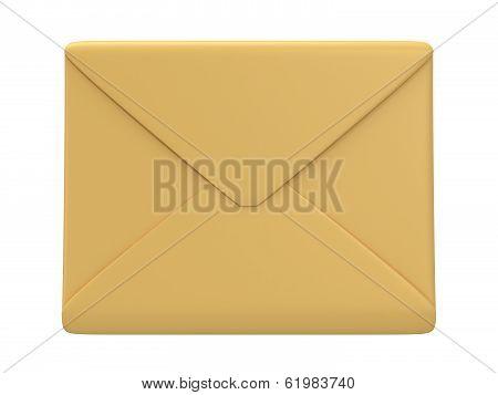 Blank mail envelope over white
