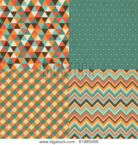 Vintage Geometric Background Pattern Set