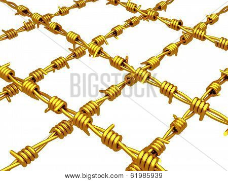 gold barbed wire isolated on white