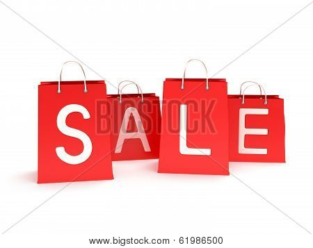four classic red blank shopping bags with handles