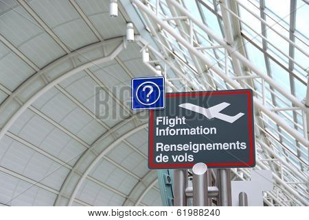 Flight information sign in international airport