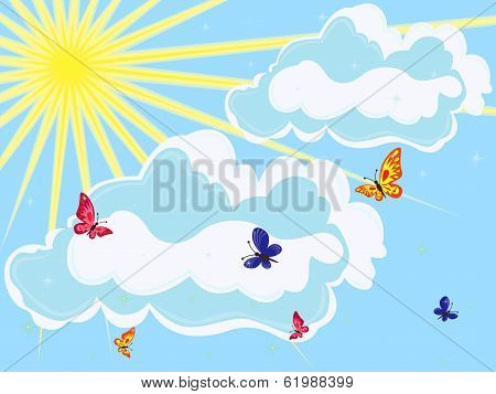 Sky With Sun, Clouds And Butterflies