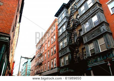 Narrow street in Boston historical North End