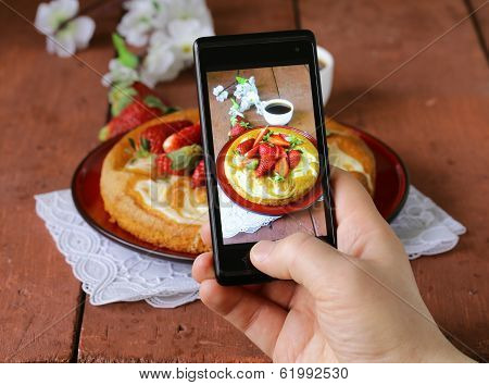 smartphone shot food photo -  vanilla cake with strawberries