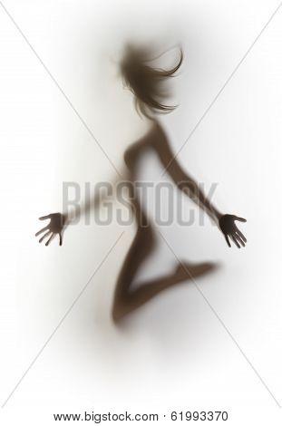 Sexy, slim jumping woman body silhouette, hair