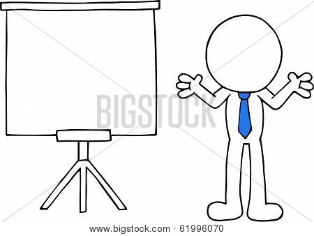 Businessman With White Board