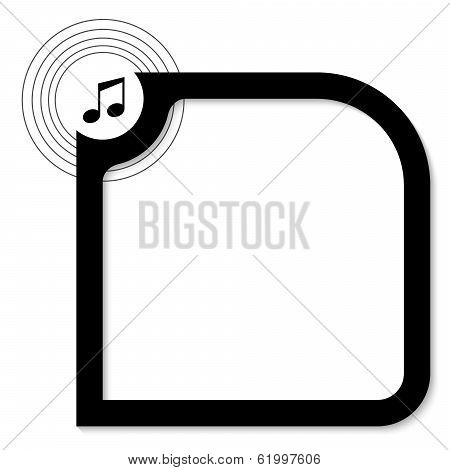 Black Text Box For Text With Music Icon