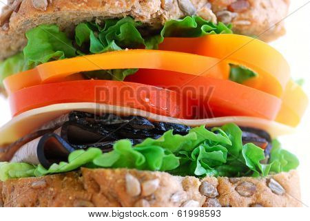 Big healthy sandwich with vegetables and meat close up