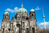 picture of dom  - The Dom and the famous television tower in Berlin on a sunny day - JPG