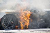 Sebring, FL - Mar 15, 2014:  The Riley Motorsport Dodge ViperExchange.com goes up in flames after a