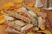 image of alfalfa  - A healthy chicken sandwich with alfalfa sprouts on organic sprouted nut and seed bread - JPG