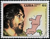 CUBA - CIRCA 2000: A stamp printed in Cuba shows Che Guevara's image and the map of congo circa 2000