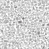 stock photo of cartoons  - School seamless pattern in black and white  - JPG