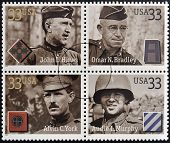 Stamps printed in USA dedicated to Military or Armed Forces shows Distinguished Soldiers