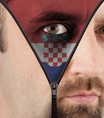 Unzipping Face To Flag Of Croatia