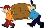 image of movers  - Two Furniture Movers Moving a Sofa - JPG
