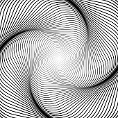 Design Monochrome Swirl Movement Illusion Background. Abstract Striped Distortion Backdrop