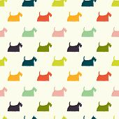 stock photo of scottie dog  - Seamless pattern with colorful dog silhouettes on polka dot background - JPG