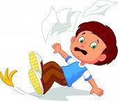 foto of crying boy  - Vector illustration of Cartoon boy fall down - JPG