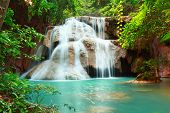stock photo of cataracts  - Huay mae kamin waterfall in Kanchanaburi Thailand - JPG