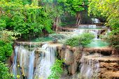 stock photo of cataract  - Huay mae kamin waterfall in Kanchanaburi Thailand - JPG