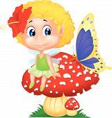 picture of fairy-mushroom  - Vector illustration of Baby fairy elf cartoon sitting on mushroom - JPG